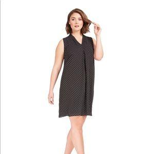 Sleeveless Chiffon Polka Dot Shift Dress, Size 1X